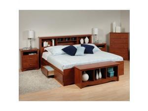 Prepac Monterey 5-Piece King Bedroom Set with Storage Bench in Cherry