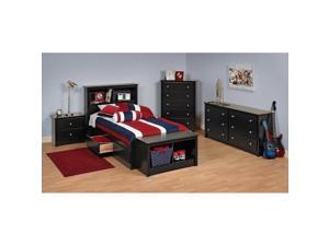 Prepac Sonoma Black Twin Wood Platform Storage Bed 4 Piece Bedroom Set
