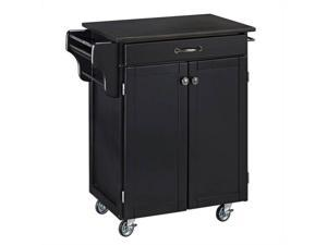 Home Styles Cuisine Cart Black Finish Black Granite Top - 9001-0044