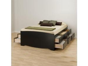 Prepac Sonoma Black Tall Full Wood Platform Storage Bed 6 Piece Bedroom Set