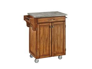 Home Styles Cuisine Concrete Top Kitchen Cart in Oak