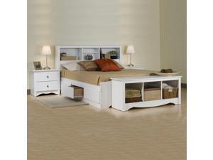 Prepac Monterey White Full Platform Storage Bed 3 Piece Bedroom Set