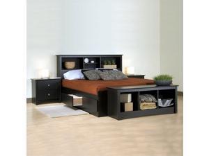 Prepac Sonoma Black Wood Platform Storage Bed 5 Piece Bedroom Set