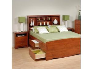 Prepac Monterey Cherry Queen Wood Platform Storage Bed 4 Piece Bedroom Set