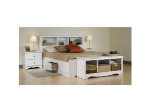 Prepac Monterey White Full Wood Platform Storage Bed 4 Piece Bedroom Set