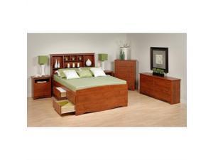 Prepac Monterey 5-Piece Tall Queen Bedroom Set in Cherry