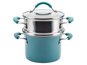 Rachael Ray Cucina Hard Porcelain Enamel Nonstick Multi-Pot / Steamer Set, 3-Quart, Agave Blue