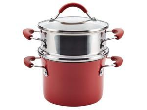 Rachael Ray Cucina Hard Porcelain Enamel Nonstick Multi-Pot / Steamer Set, 3-Quart, Cranberry Red