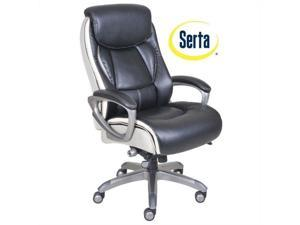 Serta Smart Layers Ergonomic Leather Executive Office Chair in Black