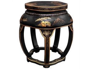 Oriental Furniture Lacquer Blossom Stool with 5 Legs in Black