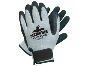 10 Gauge Textured Natural Rubber Latex Coated Gloves,  Size S,  Black/Gray