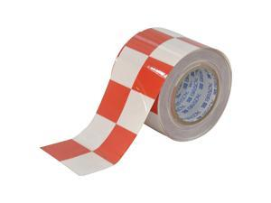 BRADY Aisle Marking Tape, 4In W, 100Ft L, Red/Wht 121918