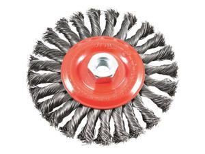 "Wire Wheel Brush, Twist Knot With 5/8""-11 Threaded Arbor, 6"" X .012"" Forney"