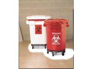RUBBERMAID Biohazard Waste Container, 27-1/4 In. H FG263294RED
