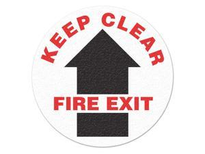 INCOM MANUFACTURING Safety Floor Sign, Keep Clear Fire Exit FS1018V