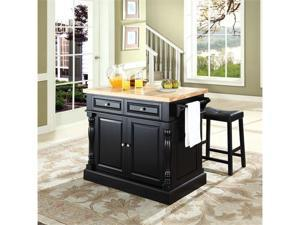 "Crosley Butcher Block Top Kitchen Island in Black  w/ 24"" Black Upholstered Saddle Stools"