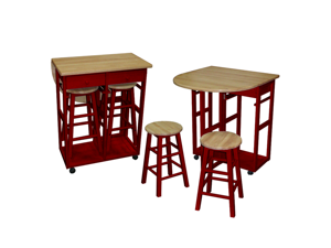Breakfast cart with drop-leaf table - Red