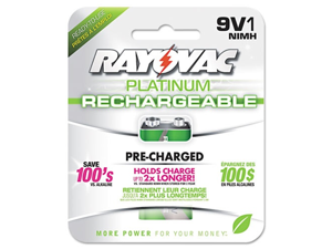 Rayovac Platinum 9V 200mAh 300 Cycles Ni-MH Rechargeable Battery