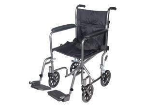Drive Medical Lightweight Steel Transport Wheelchair with Fixed Full Arms Model tr37e-sv
