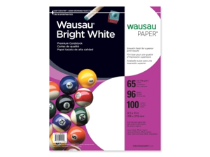 """Wausau 91901 Paper Card Stock Paper Card Stock Letter - 8.50"""" x 11"""" - 65 lb - Smooth - 100 / Pack - White"""