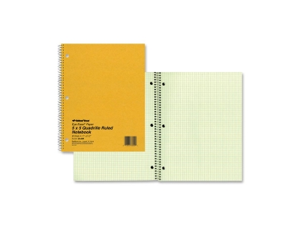 "Rediform 08851 National Green Eye Ease Wirebound Quad Notebook 80 Sheets Letter 8.50"" x 11"" - 1Each - Green Paper"