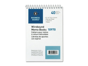 "Wirebound Memo Book End Opening Wire 4""x6"" 40Shts White"