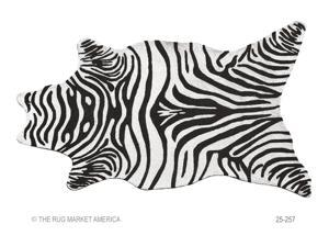 RESORT collection,  25257D, ZEBRA BLACK SHAPED 5X8 SHAPED Rug