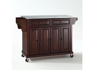 Crosley Stainless Steel Top Kitchen Cart/Island in Vintage Mahogany