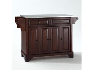Crosley LaFayette Stainless Steel Top Kitchen Island in Vintage Mahogany