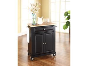 Crosley Natural Wood Top Portable Kitchen Cart/Island in Black