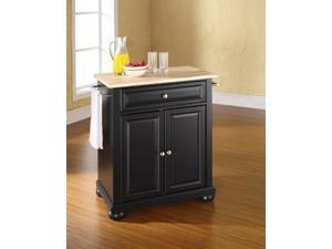 Crosley Alexandria Natural Wood Top Portable Kitchen Island in Black