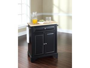 Crosley LaFayette Natural Wood Top Portable Kitchen Island in Black