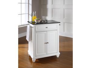Crosley Cambridge Solid Black Granite Top Portable Kitchen Island in White