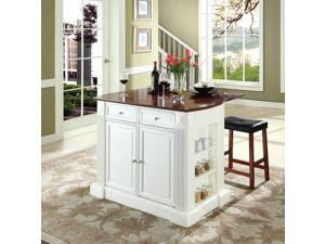 """Crosley Drop Leaf Breakfast Bar Top Kitchen Island in White  w/ 24"""" Cherry Upholstered Saddle Stools"""