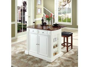 """Crosley Drop Leaf Breakfast Bar Top Kitchen Island in White  w/ 24"""" Cherry Upholstered Square Seat  Stools"""