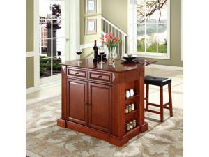 """Crosley Drop Leaf Breakfast Bar Top Kitchen Island in Cherry  w/ 24"""" Cherry Upholstered Saddle Stools"""