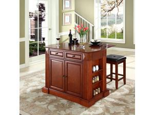 """Crosley Drop Leaf Breakfast Bar Top Kitchen Island in Cherry  w/ 24"""" Cherry Upholstered Square Seat  Stools"""