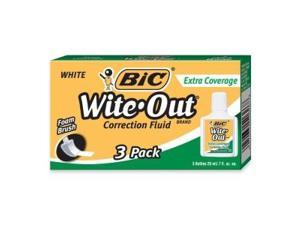 Wite-Out Extra Coverage Correction Fluid 20 ml Bottle White 3/Pack