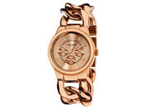 Akribos XXIV AK531RG Women's Gold Multi-Functional Twist Chain Watch