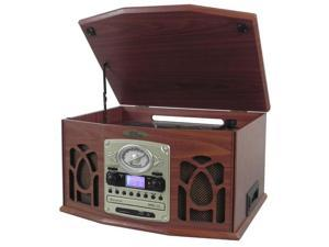 Retro Vintage Turntable with CD/MP3/Casette/Radio/USB/SD With Aux-In And Vinyl-to-MP3 Encoding & iPod Player (Wood Finish)