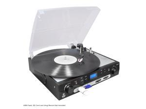 Pyle RBPLTTB9U USB Turntable with direct-to-digital USB/SD Card Encoder & Built-in AM/FM Radio conversion