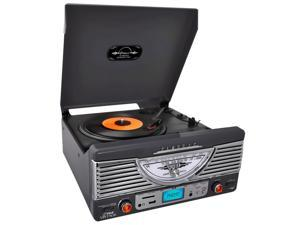 PyleHome - Retro Turntable with AUX Input/Radio/USB/SD/MP3 and Vinyl-to-MP3 Encoding (Black)