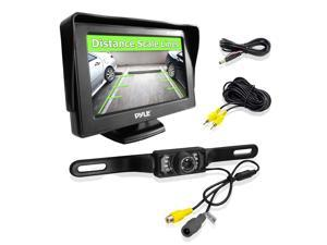 Pyle LCD Monitor and Rear View License Plate Back-Up Camera Parking Assist System, 4.3'' Screen, Night Vision, Distance Scale Lines