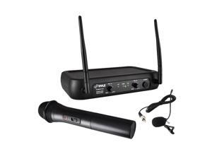 Pyle PDWM2140 VHF Fixed Frequency Wireless Microphone System, Handheld Mic, Body Pack Transmitter, Lavalier, Headset, Independent Adjustable Volume Controls