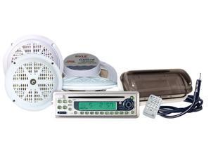 Pyle - Waterproof Marine CD/MP3 Player Receiver w/Four 5.25' Speakers & Splash Proof Radio Cover