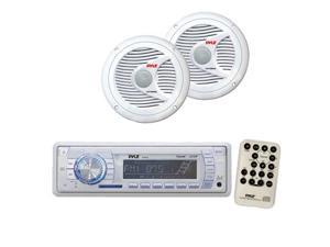 Pyle - AM/FM-MPX PLL Tuning Marine Radio w/SD/MMC & USB + 150 Watts 6.5'' 2 Way White Marine Speakers