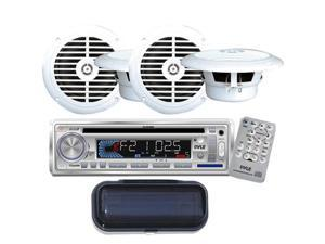 "Pyle - AM/FM-MPX IN -Dash Marine CD/MP3 Player/USB & SD Card Function + (2)6-1/2"" Dual Cone Waterproof Stereo Speaker System + PLMRCW1 White Water Resistant Radio Shield."