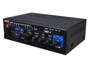 PyleHome - Mini 2x120 Watt Stereo Power Amplifier w/ USB/CD/AUX Inputs (Refurbished)