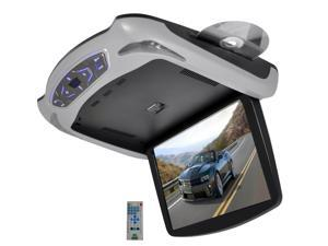 Pyle - 13.3'' Roof Mount TFT LCD Monitor Built In DVD/USB/SD Player w/ Wireless FM/IR Transmitter's & Included 3 Color Skins (Gry/Blk/Tan)