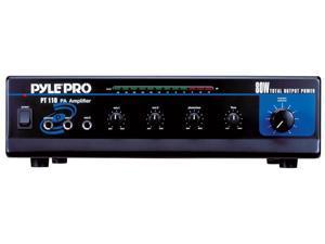 PyleHome - 80 WATT AC/DC Microphone PA Mono Amplifier w/ 70V Output & Mic Talkover